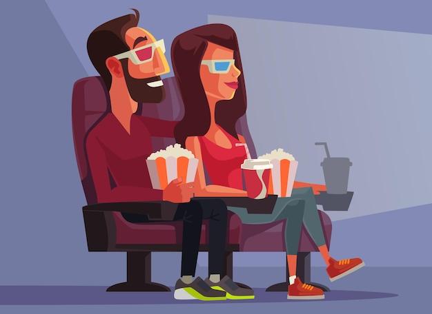 Coppia guardando film. personaggi di uomo e donna.