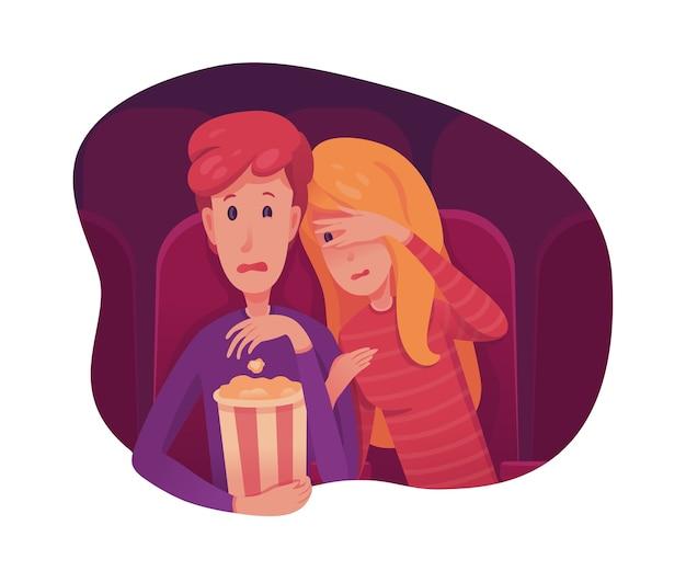 Coppie che guardano l'illustrazione piana di film spaventoso, adolescenti che hanno appuntamento romantico, personaggi dei cartoni animati di ragazzo e ragazza. horror, thriller, film di mistero.