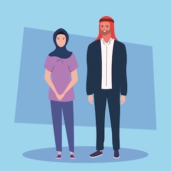 La coppia indossa turbante e hijab Vettore Premium