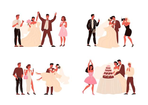 Cerimonie di matrimonio di coppia set di composizioni isolate con lo sposo della sposa e i loro ospiti con regali di torte