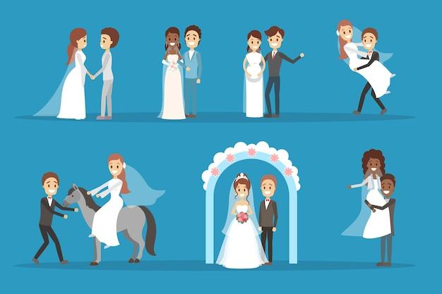 Coppia matrimonio set. collezione di sposa con bouquet