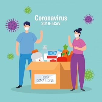 Coppia con scatola di donazione in cartone alimentare, assistenza sociale, durante il coronavirus