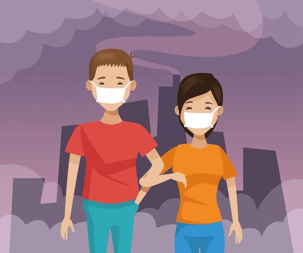 Coppia con protezione dalla bocca protezione dall'inquinamento
