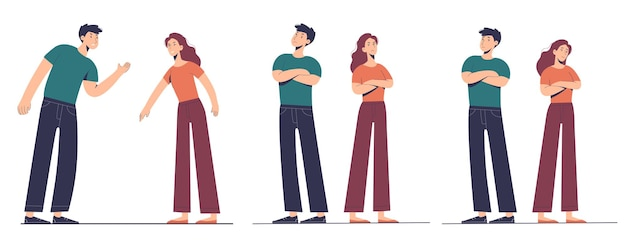 Coppia di donna e uomo è in lite. disaccordi e problemi tra i partner nelle relazioni. illustrazione delle diverse fasi della psicologia delle relazioni.