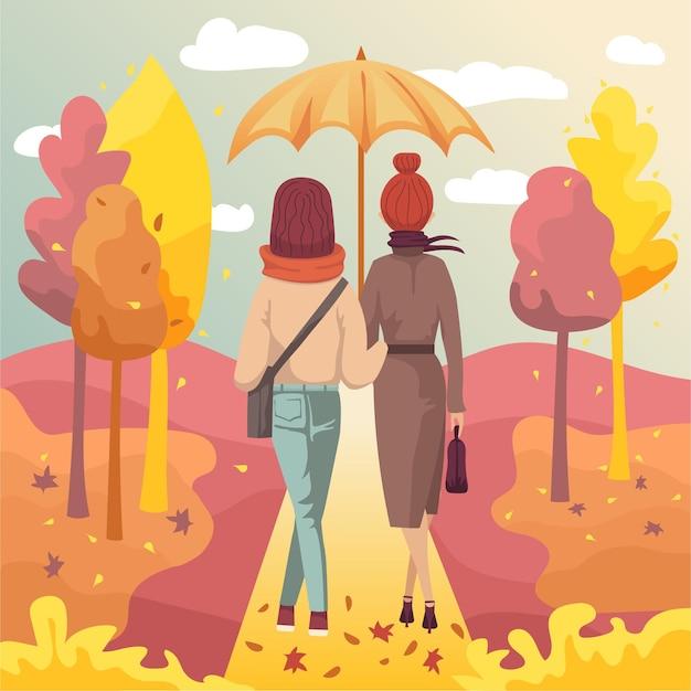 Coppia di amiche di giovani donne che camminano nel parco autunnale sotto l'ombrellone. illustrazione