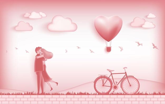 Attività di coppia nel giorno dell'illustrazione dell'amore