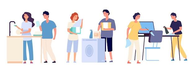 Le coppie puliscono la casa. uomo donna pulitori lavori domestici spazzare attrezzature per la casa personaggi dei cartoni animati di vettore donna e uomo casa pulita, illustrazione di lavaggio di routine