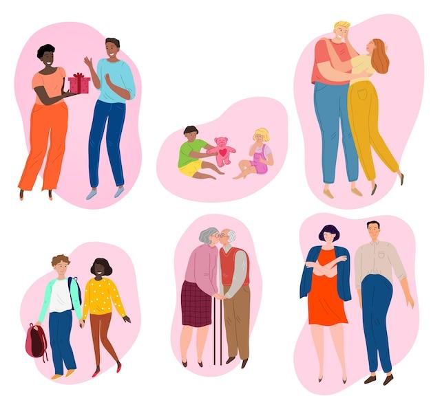 Coppie di età diverse innamorate. bambini adolescenti, adulti e anziani.