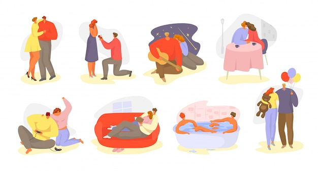 Coppie della gente nell'insieme isolato illustrazione romantica di relazione di amore.