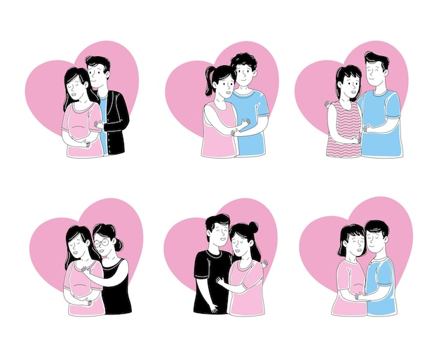 Coppie che mostrano insieme di affetto