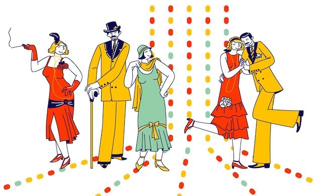 Coppie sparetime con retro dancing in night club