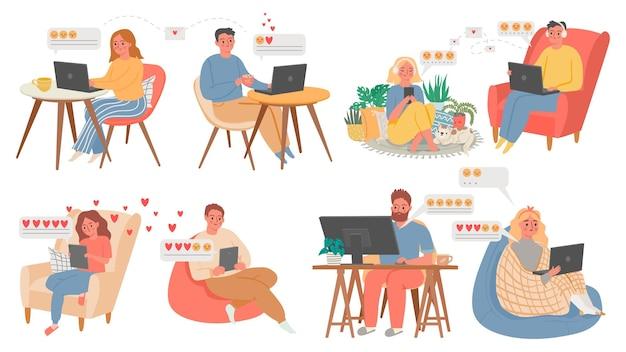 Chat virtuale di coppia. persone con computer o telefono, appuntamento online da casa. festeggia san valentino in quarantena. insieme di vettore delle coppie di amore. comunicazione chat online sorriso e illustrazione di messaggistica