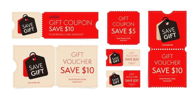 Modello di coupon con set di codici promozionali regalo monetario. buono per biglietto a strappo