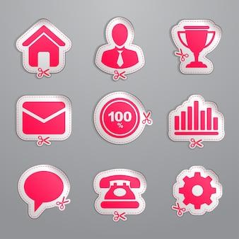 Buoni e adesivi. icone del sito web.