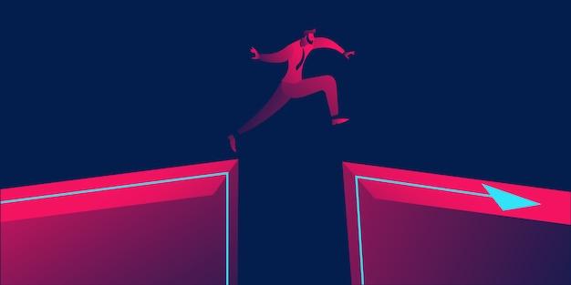 Coraggio, coraggio, superare il rischio Vettore Premium