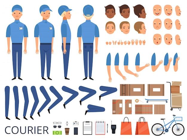 Animazione del personaggio del corriere. le parti del corpo testa braccia cappuccio mani del lavoratore magazzino corredo creazione kit