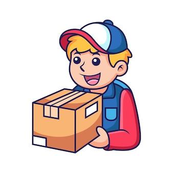 Fumetto del ragazzo del corriere. illustrazione dell'icona di vettore. concetto di icona di professione isolato su vettore premium