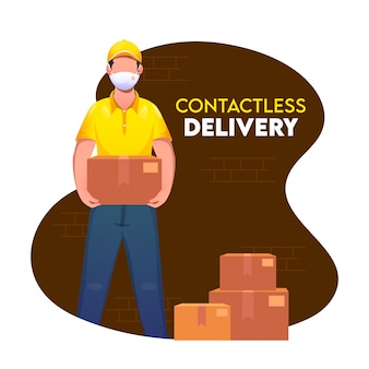 Corriere boy che tiene un pacco con le scatole di cartone su fondo marrone e bianco astratto per il concetto di consegna senza contatto.