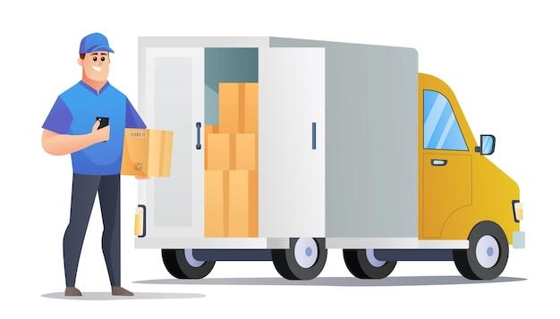 Il corriere porta i pacchi con l'illustrazione del furgone