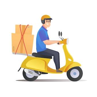 Il corriere consegna i pacchi in scooter