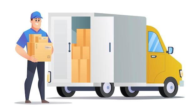 Il corriere consegna i pacchi via camion