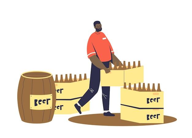 Corriere che consegna birra in bottiglie e botte di legno all'illustrazione del pub