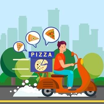 Illustrazione di courier delivering dinner to suburbs
