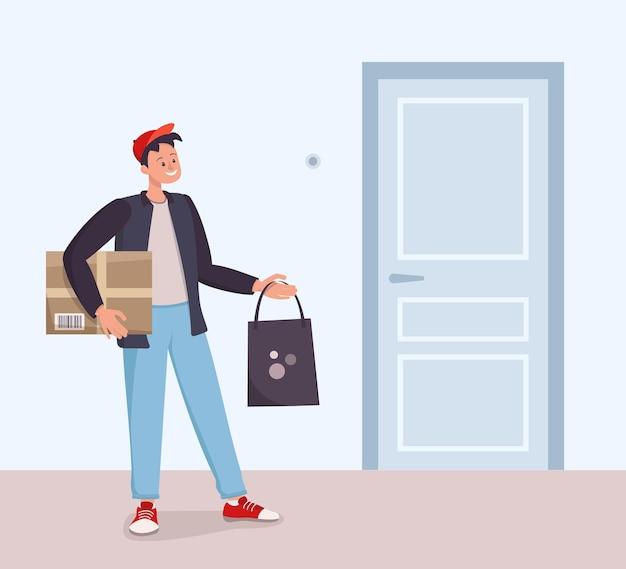 Il corriere consegna l'ordine. consegna veloce del pacco. un uomo sta con gli acquisti alla porta. illustrazione piatta vettoriale