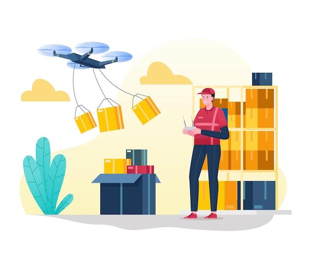 Il corriere consegna il pacco tramite drone all'indirizzo del cliente, servizi di consegna tecnologici moderni