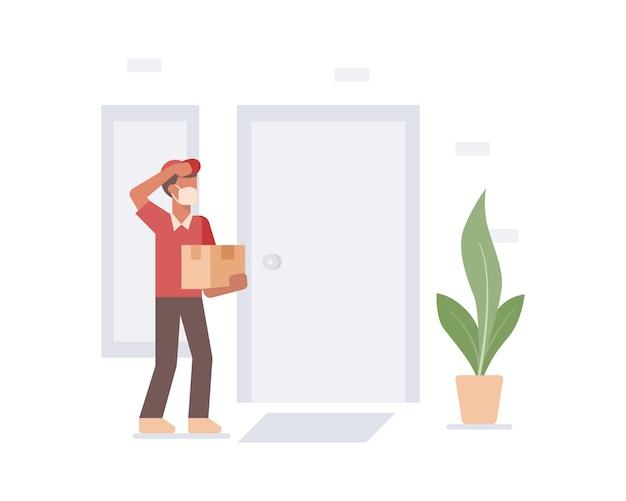 Un uomo di consegna del corriere che indossa una maschera facciale che consegna una scatola all'illustrazione della porta della casa del cliente