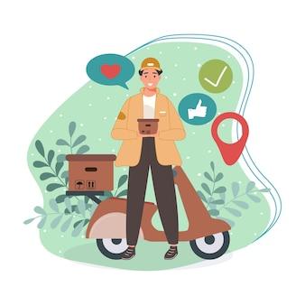 Corriere o addetti al servizio di consegna in piedi con le merci sul posto personaggio con scatola per pacchi
