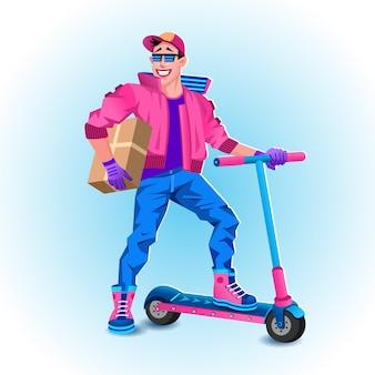 Corriere su scooter elettrico con scatola pacchetto. concetto di servizio di consegna. concetto di servizio di spedizione veloce. illustrazione vettoriale. fantastico ragazzo delle consegne in occhiali da sole e berretto che rimane su uno scooter con scatola.