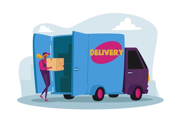 Carattere femminile del corriere che carica la cassetta dei pacchi in camion per la consegna ai clienti. posta, servizio di trasporto di pacchi postali