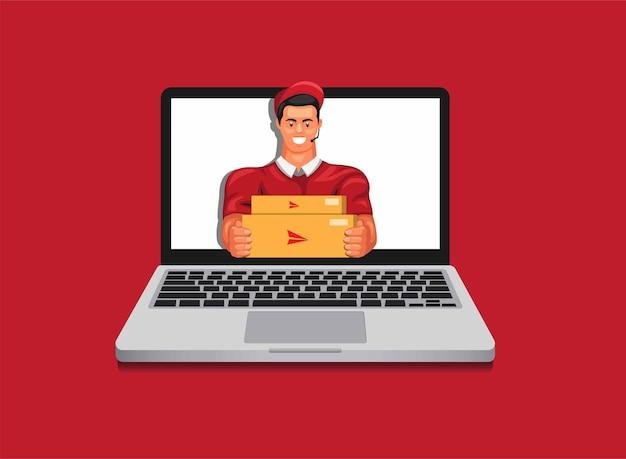 Corriere che dà il pacchetto dal servizio di consegna del computer portatile e dall'illustrazione in linea dello shopping