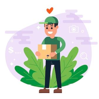 Il corriere in divisa verde consegna il pacco. uomo sorridente. illustrazione vettoriale piatto.