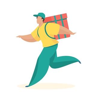 Il corriere ha fretta di consegnare l'ordine acquisti online logistici di spedizione veloce e di alta qualità