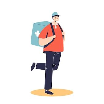 Uomo del corriere che consegna farmaci dalla farmacia. ordinazione di medicinali e concetto di servizio di consegna in farmacia.