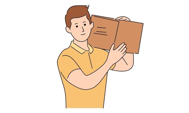 L'uomo del corriere tiene la scatola per la consegna