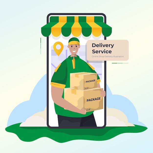 Pacchetto corriere per il concetto di consegna del negozio online