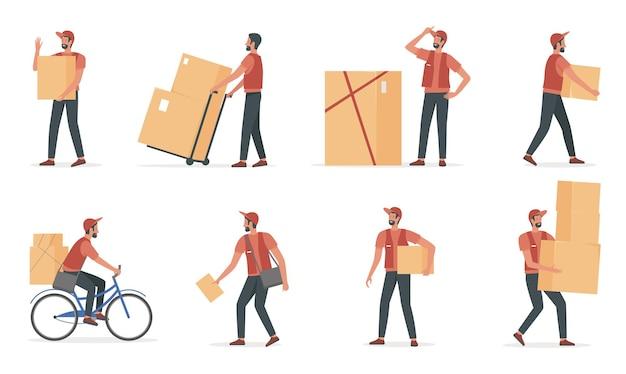 Le persone del corriere lavorano nel servizio di consegna impostato giovane fattorino che tiene la scatola di cartone
