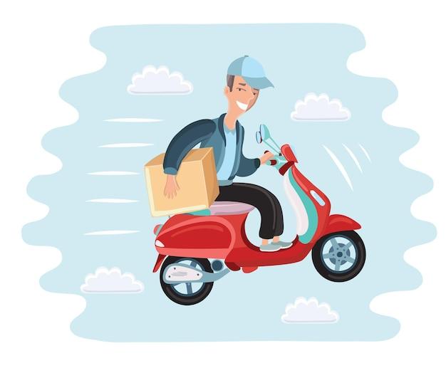 Corriere cavalca su scooter colorato e isolato