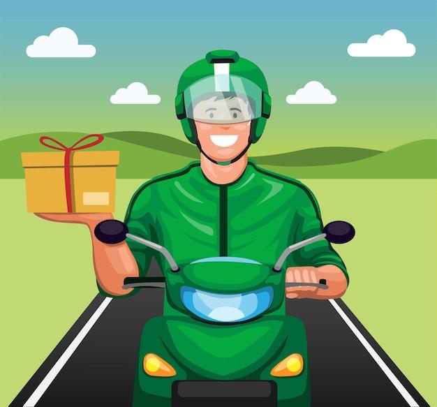 Corriere in sella a una moto che consegna il pacchetto