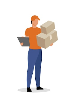 Servizio di corriere appartamento. consegna di lettere e pacchi ai clienti cartone animato isolato