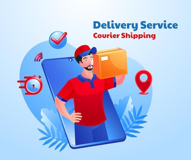 Consegna del servizio di spedizione tramite corriere con uno smartphone mobile