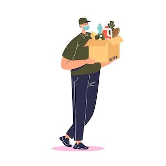 Il corriere che indossa la maschera consegna cibo e generi alimentari