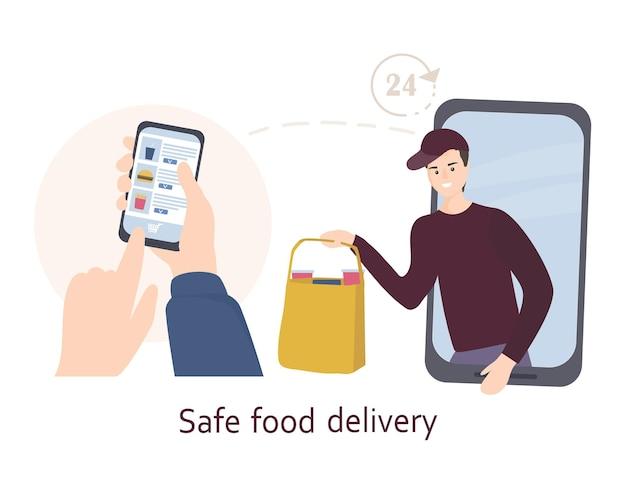 Il corriere con mascherina e guanti consegna il cibo a domicilio