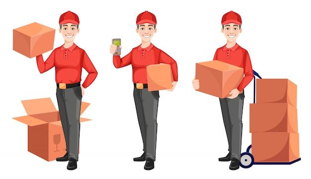 Corriere con scatole di cartone, set di tre pose