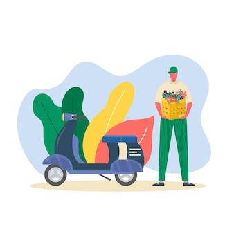 Corriere con scooter che tiene in mano il pacco pronto per la consegna veloce al destinatario, isolato. concetto di servizio di consegna online. illustrazione vettoriale per pagina web con pacco postale, pacco, scatola