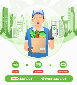 I corrieri consegnano gli ordini di verdura dai supermercati. app per la spesa online all'illustrazione dello smartphone. utilizzato per immagini web, poster e altro