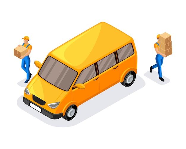 Corrieri del servizio di consegna, trasporto di scatole, consegna rapida degli ordini in luoghi diversi. express, home, consegna veloce, spedizione